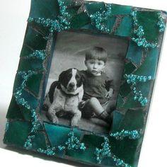 Mosaik-Rahmen Blau Grün verschönert von MashedPotatoMosaics auf Etsy