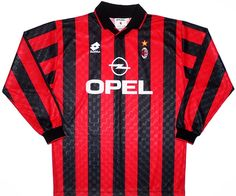 AC Milan, home - 1995-96 Classic Football Shirts, Vintage Football Shirts, Club Shirts, Ac Milan, S Shirt, Retro Vintage, Tops, Fashion, Shirts