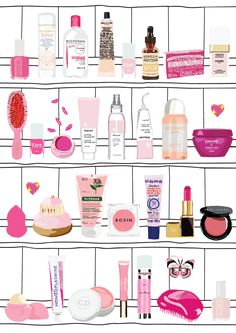 This is my pink shelf. I gathered all my favorite, pink cult beauty  products that I would love to own in my bathroom. It's a pink dream  collection.This poster would suit nicely in your bathroom. Inspired by the  brand Glossier and also by the pharmacy of Damien Hirst.  Digitaly printed on Mohawk, a deluxe heavy weight 324gsm, cream coloured,  slightly textured. Every print is UV coated, signed and editioned by Marine  de Quénetain.  A3 format : 297mmx420mm or A4 format : 210mmx297mm…