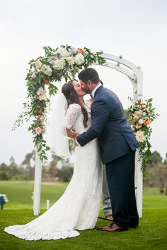 Loving this couples arch - and her dress! Lomas Santa Fe Country Club. Country Club Weddings. Golf Course Wedding. Kaitlin Cooper Photography kaitlincooper.com | @Flower