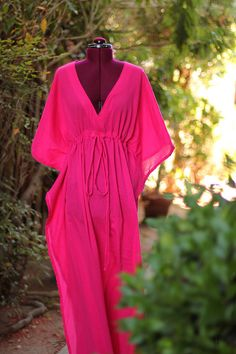 Caftan Maxi Dress - Beach Cover Up - Kaftan - Muumuu - Fuchsia Bathing Suit Dress, Bathing Suit Covers, Swimwear Cover Ups, Swimsuit Cover, Diy Summer Clothes, Summer Outfits, Diy Clothes, Beach Dresses, Summer Dresses