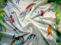 Silk shawl Japanese koi carp Batik.Hand painted White by Allatai