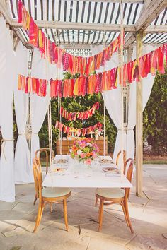 fabric strip garland, curtains, table hung from ceiling; Bridal Shower Luncheon Inspiration; ruffled