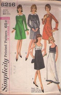 MOMSPatterns Vintage Sewing Patterns - Simplicity 6216 Vintage 60's Sewing Pattern DANDY Mod High Empire Waist Twiggy, Cocktail Party Dress, Red Carpet Gala Evening Gown Size 11