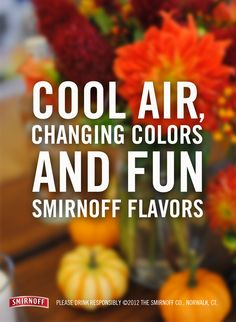 A toast to you, October! Smirnoff Flavors, Alcohol Quotes, Fall Drinks, Vodka, Beverages, October Fall, Pumpkin, Vegetables, Drink Recipes