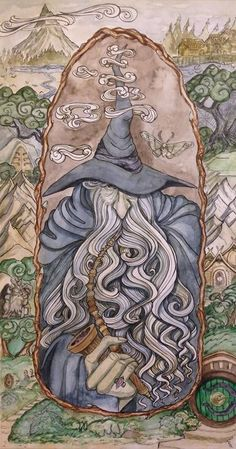 Beautiful gandalf lord of the rings hobbit Tolkien art Jrr Tolkien, Art Hobbit, Hobbit Hole, Tatouage Tolkien, Lord Of Rings, Mago Tattoo, Illustration, One Ring, Fan Art