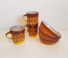 Vintage Fire King Set of 3 Kimberley Pattern Coffee Mugs with Matching Bowls by on Etsy Vintage Fire King, Victorian Era, Coffee Mugs, Unique Jewelry, Tableware, Handmade Gifts, Bowls, Pattern, Etsy