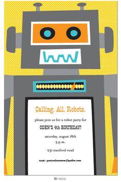 Robot Party Invitation