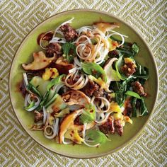 Thai Beef and Basil Noodles with Shiitake Gravy from cooking light