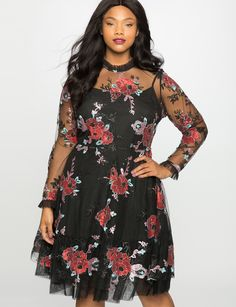 Embroidered Tulle Fit and Flare Dress | Women's Plus Size Dresses | ELOQUII