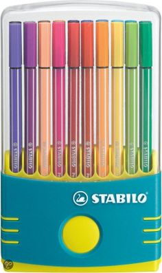 STABILO Premium ColorParade Pen 68 Fine Liner Pens in Turquoise Case - with difficult people friday deal Stationery Pens, Office Stationery, College Supplies, Art Supplies, Marker Pen, Permanent Marker, Stabilo Pen 68, Stationary School, School Notebooks