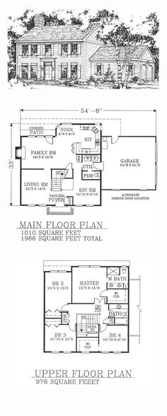 Colonial House Plan 91464 | Total Living Area: 1986 sq. ft., 4 bedrooms and 2.5 bathrooms. #colonialhome