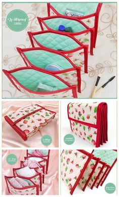 This beautiful Quilted Accordion Pouc. This beautiful Quilted Accordion Pouch expands out and gives you five pockets to keep your jewellery, small. Sewing Hacks, Sewing Tutorials, Sewing Crafts, Sewing Tips, Bag Patterns To Sew, Sewing Patterns Free, Leftover Fabric, Creation Couture, Love Sewing