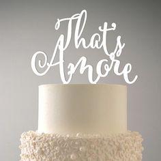 Topper That's Amore per torta nunziale in legno o di DARQCREATIONS