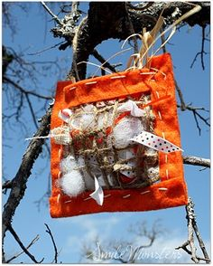 birds nest helper for spring- It would be fun to put this up in the yard, then look around the neighborhood to see the nests where they ended up