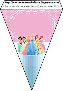 Disney Princess Birthday Banner Printable Banner Digital Download Frozen Cinderella Bell Snow White Jasmine Frog Princess Tangled