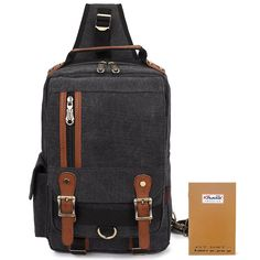 KAUKKO Canvas Leather Crossbody Messenger Bag One Strap Sling Travel Hiking Chest Bag > New and awesome product awaits you, Read it now  : Backpack