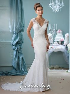 Illusion Back Wedding Dress 116132 Enchanting By Mon Cheri