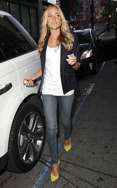 Kristin Cavallari...love the jacket, top, jeans, and shape of the shoes together...no neon shoes for me...my size 9's are way too big for that business!
