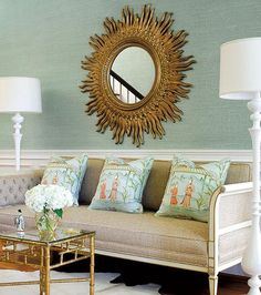 table, pillows and mirror