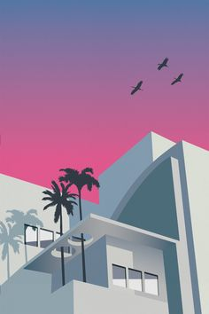 Miami beach is famous for it's architecture, the beautiful art deco style has made it a popular holiday destination and location Miami Art Deco, Retro Kunst, Retro Art, Architecture Wallpaper, Architecture Old, Vaporwave Art, Kunst Poster, Art Deco Posters, Deco Design