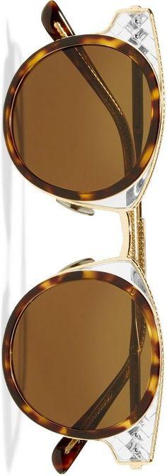 BOTTEGA VENETA Round-frame gold-tone and acetate sunglasses