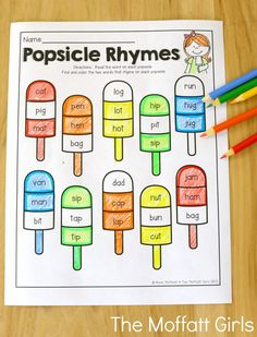 Popsicle Rhymes (for beginning readers)- Avoid the Summer Slide! Help your students stay on track during summer break with these FUN activities! Perfect for Kindergarten going into 1st Grade!
