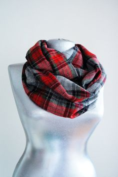 Handmade Tartan Infinity Scarf - Wool - Silvery Red Gray Burgundy Black - Winter Autumn Scarf - Men Unisex Scarf on Etsy, $24.90