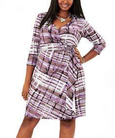 Look at this #zulilyfind! Grape & Tan Plaid Wrap Dress - Plus by MYNT 1792 #zulilyfinds