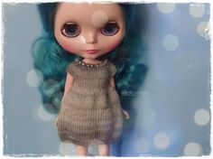 BLYTHE Dress, Pure Neemo, Licca, Takara, Pullip, Dal - Knitted Multicolor Gray Dress With Beads #31