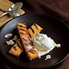 Easy delicious grilled dessert. Only six ingredients make one delicious dessert in less than 10 minutes.