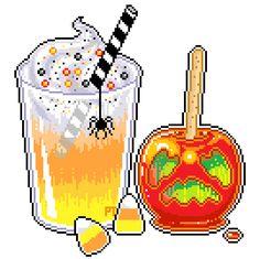 Halloween Treats pixel art (540×539)