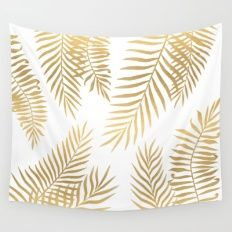 Wall Tapestry featuring Gold Palm Leaves by Marta Olga Klara