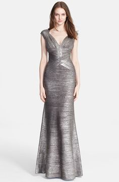 Herve Leger Flared Foiled Bandage Gown L Beautiful And Flattering Engagement Gowns Dress
