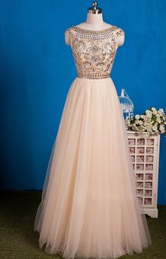 Champagne Tulle Beaded Cap Sleeves Prom Gown