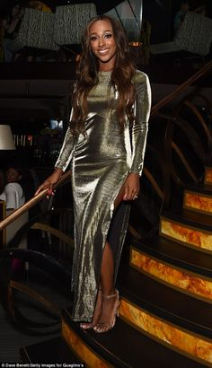 Glamorous: Alexandra Burke certainly had all eyes on her as she attended the launch of Qua. Alexandra Burke, Color Me Badd, Spring Summer Trends, All About Eyes, Thigh Highs, Product Launch, Sari, Glamour, Gowns
