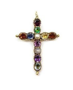 Antique vari-coloured gem set cross pendant, c.1810 Decorative Crosses, Crosses Decor, Lord Is My Shepherd, Fine Jewelry, Jewellery, Jesus On The Cross, Cross Jewelry, Sparklers, Crucifix