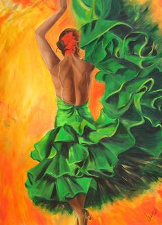 Sharareh Chakamian, Flamenco - painting of a flamenco dancer - print on paper of a dancer in green ruffled dress- orange background- Christmas gift Hand Painted Highlights, Dance Teacher Gifts, Spanish Dancer, Dance Paintings, Flamenco Dancers, Wine Art, Fine Art Prints, Canvas Prints, Orange Background