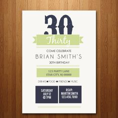 21st, 30th, 40th, 50th Birthday Party Invitation - any age. $12.00, via Etsy.