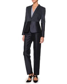 -4NJ7 Giorgio Armani Single-Button Combo Blazer, Faux-Wrap Blouse & Tapered Mikado Pants