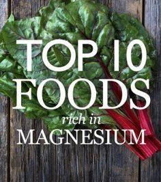 Spinach, chard, pumpkins seeds, yogurt or kefir almonds, black beans, avocado, figs, dark chocolate, bananas....salmon, coriander, cashews…