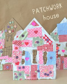 Patchwork Houses with Cardboard and Collage : Children make patchwork houses from cardboard and fabric scraps. Children use collage materials to make patchwork houses from cardboard and fabric scraps. Crafts For Kids To Make, Projects For Kids, Easy Crafts, Craft Projects, Kids Crafts, Easy Projects, Cardboard Crafts, Paper Crafts, Cardboard Houses