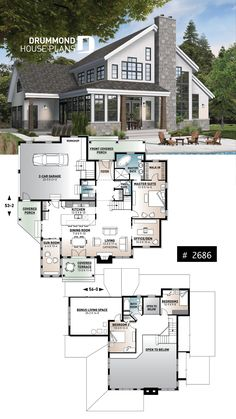 Dream house plans: garage country house plan of 3 bedrooms, sun room, home offfice, huge kitchen island and fireplace Sims 4 House Plans, Dream House Plans, Modern House Plans, House Floor Plans, Dream Houses, Sims 2 House, Unique House Plans, Modern Floor Plans, Huge Houses