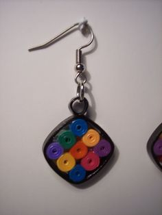 Quilled Paper Multi Colored Earrings
