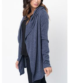 This Caralase Navy Pocket Hooded Cardigan by Caralase is perfect! #zulilyfinds
