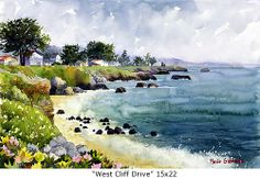 Pigeon Point Rocks 15x22, Marie Gabrielle Watercolors