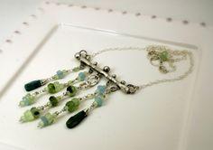Beaded Necklace Gemstone Necklace Gemstone Pendant by jihidesigns