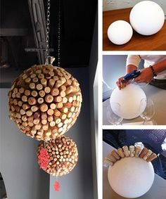 Wine Cork Ball for all those crazy corks you've been saving! Perfect for a wine tasting party. Wine Craft, Wine Cork Crafts, Wine Bottle Crafts, Crafts With Corks, Champagne Cork Crafts, Wine Cork Projects, Diy Projects, Auction Projects, Diy Cork