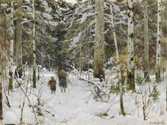 Gathering branches in winter, Konstantin Yakovlevich Kryzhitsky. Ukrainian (1858 – 1911)
