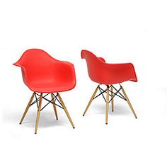 Funky red plastic vintage shell chairs